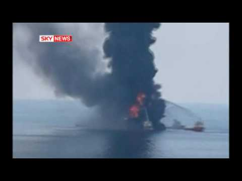 Fire Engulfs Offshore Oil Rig Louisiana
