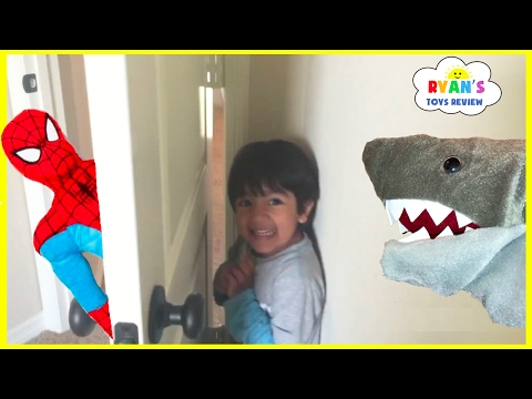 Thumbnail: Hide N Seek Compilation Family Fun Chase Playtime with Spiderman and Pet Shark Attack kids Toys