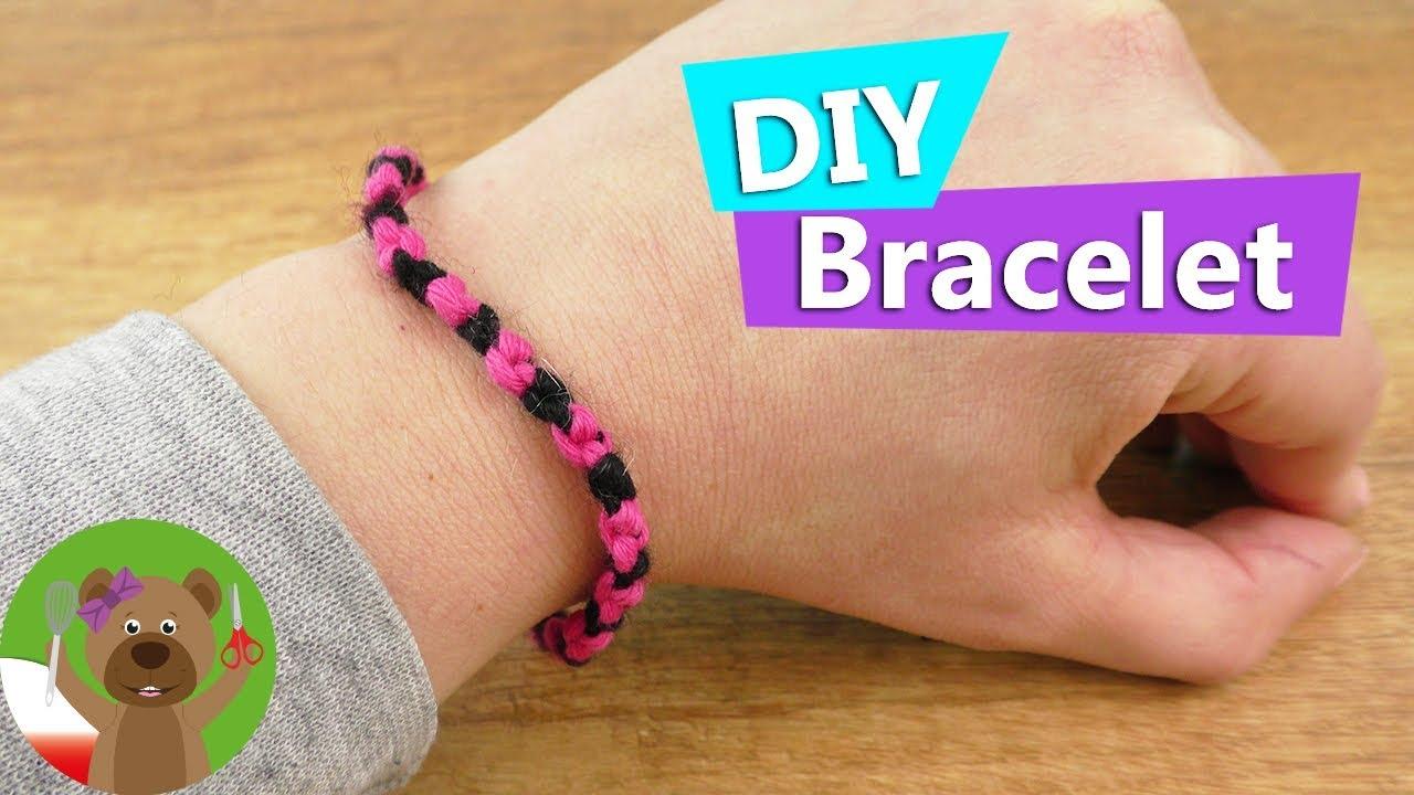 DIY Kids | bransoletka przyjażni | prosta bransoletka z różowej i czarnej włóczki | DIY ozdoby