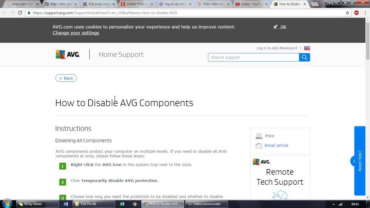 Hướng dẫn tắt tạm thời chương trình diệt virus AVG (How to Disable AVG Components)