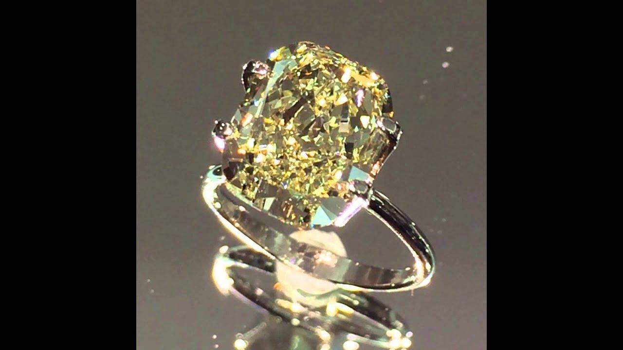 6 carat cushion yellow diamond youtube