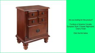 Furniture of America Corvallis European Style 2 Drawer Nightstand, Cherry Finish