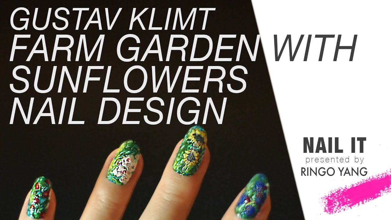 #OKRingo Nailit #9 Farm Garden With Sunflowers(Gustav Klimt) Inspired Nail  Art