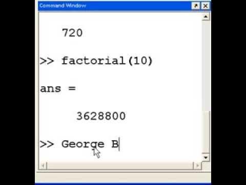 factorial in matlab Matlab Factorials - YouTube