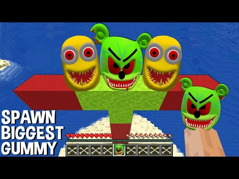 This is a SUPER SECRET WAY TO SPAWN BIGGEST GUMMY BEAR and MINIONS in Minecraft TITAN