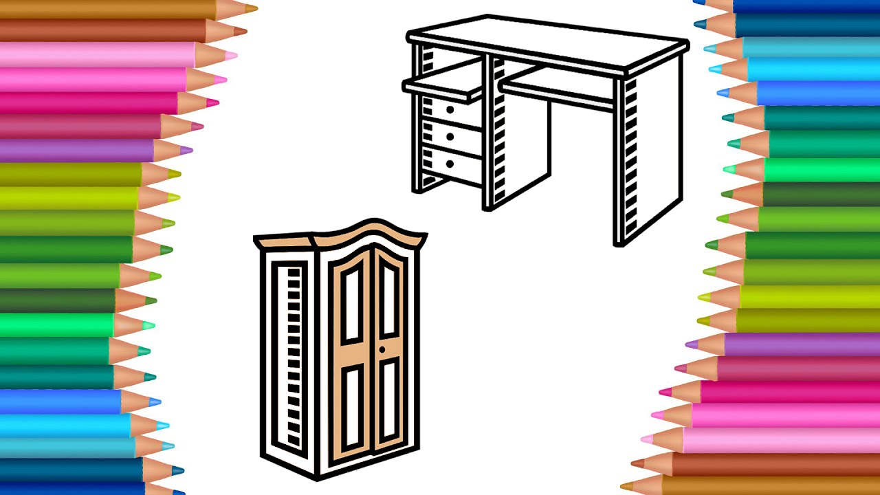 How to Draw Table Desk Furniture Colouring Book Kids | Learning ...