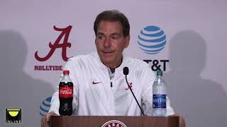 Nick Saban speaks to the media after 50-17 win over The Citadel