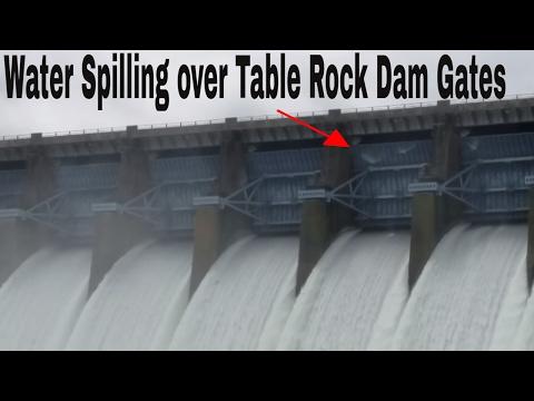 Table Rock flood 2017 water splashing over gates of dam into Taneycomo