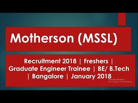 Recruitment 2018 Motherson (MSSL) | Graduate Engineer Trainee | Bangalore hst jobs