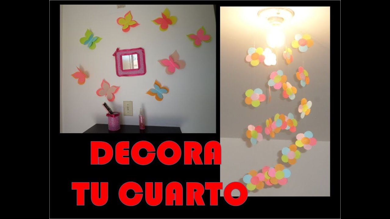Diy decoracion de primavera para cuarto de ni a youtube for Adornos colgar pared