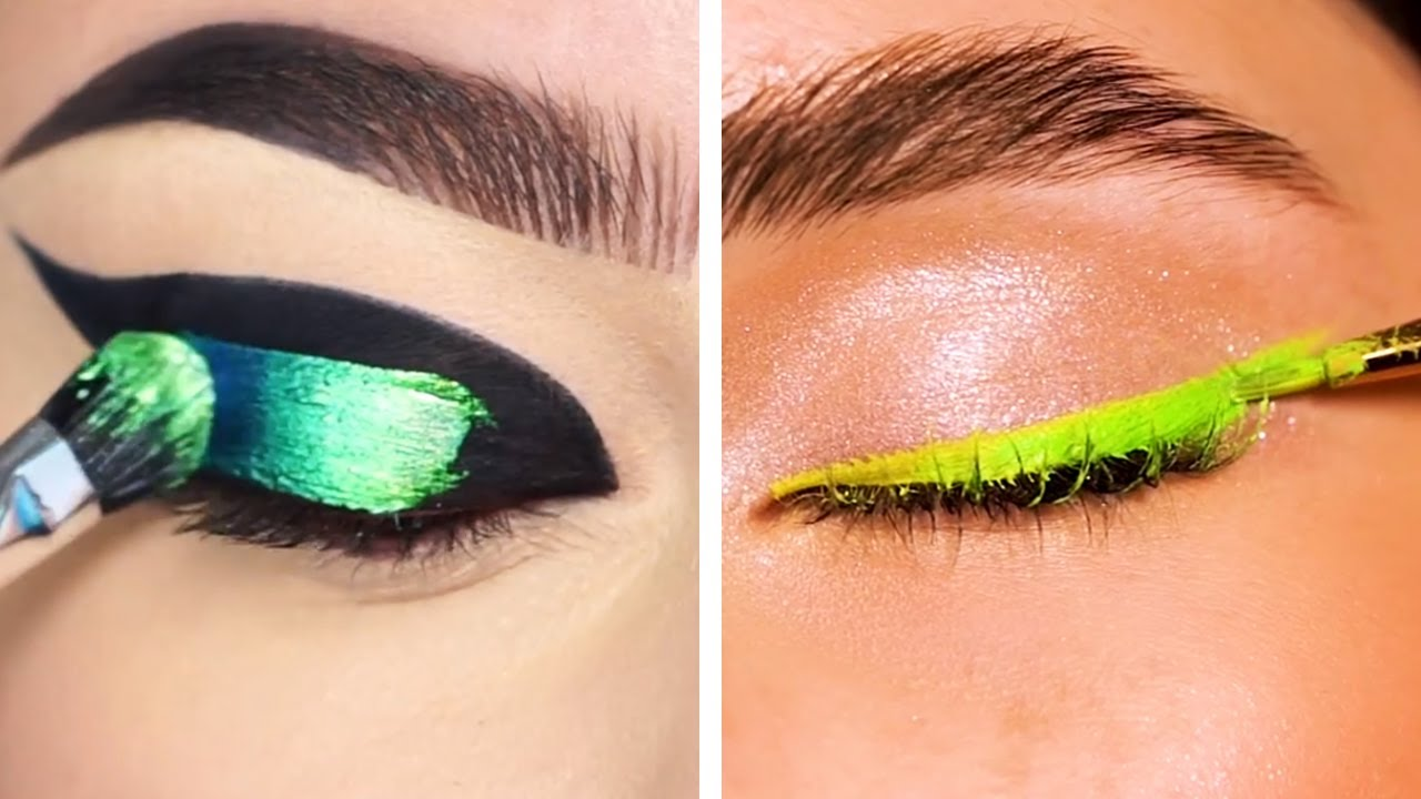 Trying different eyeliner styles & colorful eyes makeup looks that are at another level!
