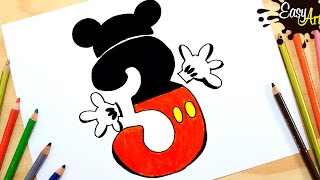 Mickey Mouse Club House /Como dibujar numero 3 / /how to draw number 3
