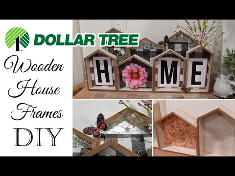 * NEW* Dollar Tree 🏡 Wooden House Frames DIY