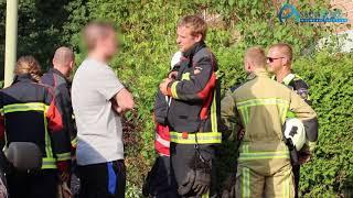 Tuinmeubilair op balkon van flat in Assen in de brand