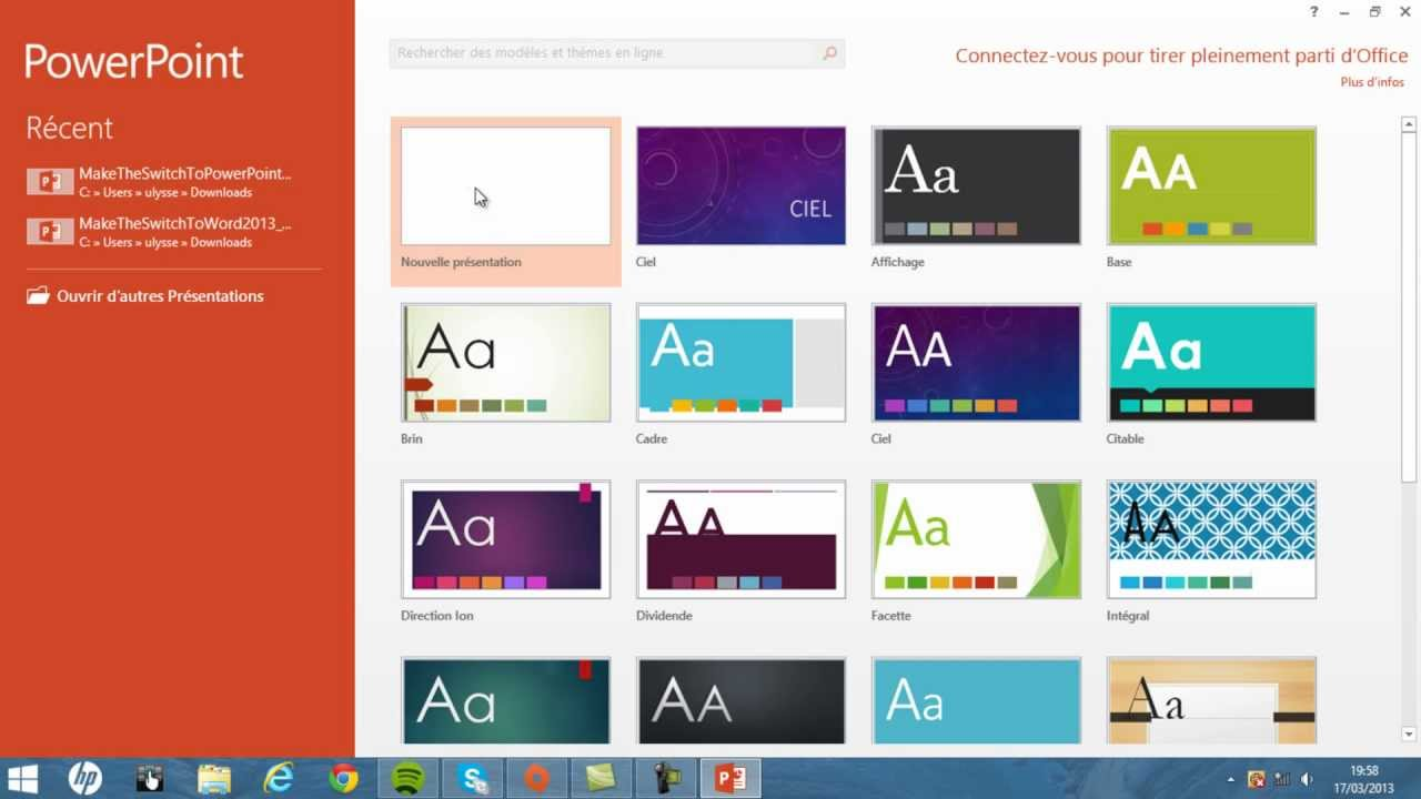 Bien-aimé Faire un beau diaporama avec Powerpoint 2013 | Tuto Office - YouTube RL51