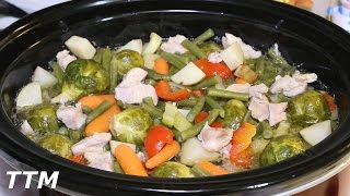 Chicken Vegetable Soup with Brussel Sprouts in the Crock Pot~Healthy Slow Cooker Recipe