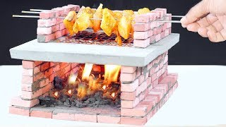 how To Make Wood Fired BBQ Oven From Mini Bricks! DIY mini BBQ oven