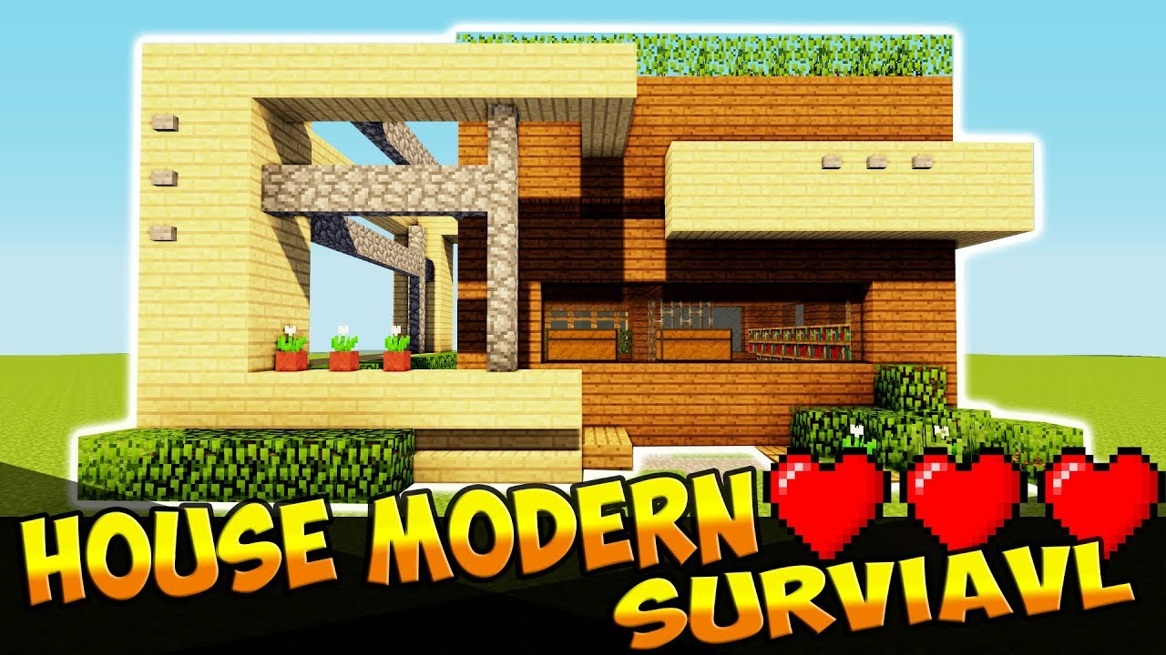Minecraft How To Make A Wooden House In A Modern Style Youtube
