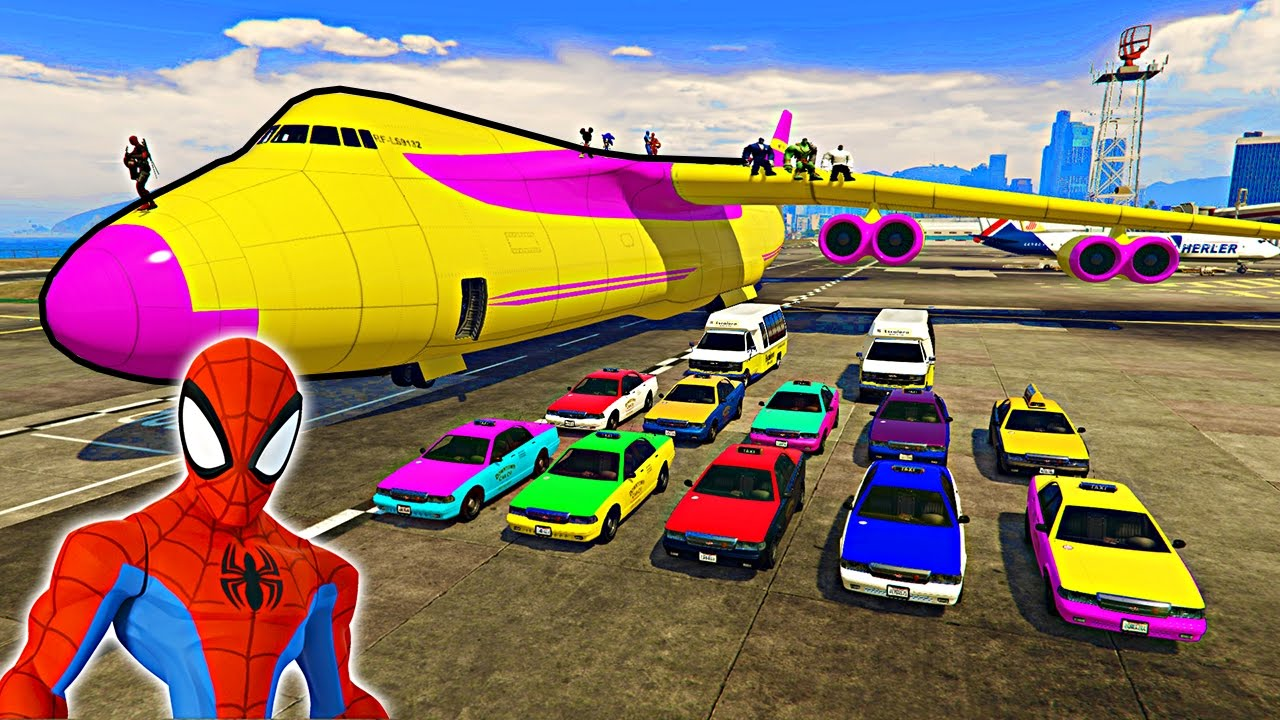 Download Colors Taxi Cars Transportation with Spaderman on Biggest Airplane