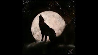Lobo em lua cheia, SPRAY EM AZULEJO.