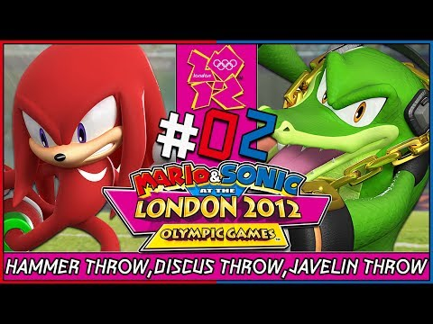 Mario and Sonic at the London 2012 Olympic Games Wii Coop Field Events Knuckles Vs Vector Part 2