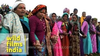 Women sing religious song during Nanda Devi Raj Jat Yatra