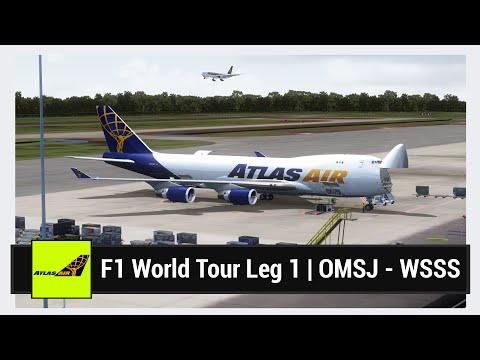 [FSX] F1 World Tour Leg 1 (Part 3 of 4) | OMSJ - WSSS | PMDG 747-400F