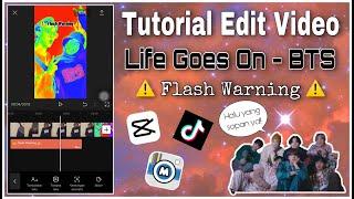 Download Mp3 TUTORIAL EDIT VIDEO HALU YANG SOPAN FLASH WARNING LAGU LIFE GOES ON BTS APK CAPCUT