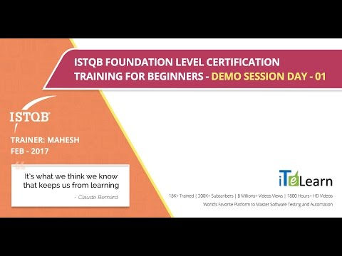 ISTQB Foundation Level Certification Training Demo Session Day 01
