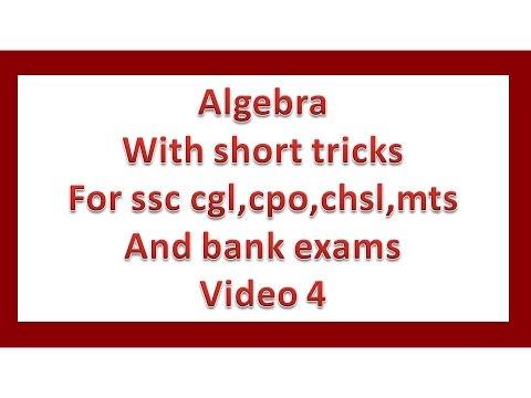 Algebra for cgl video 4 by puneet ujiniya