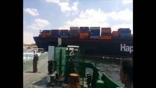 قناة السويس الجديدة:عبور السفن بالقناة يوقف معدية نمرة 6 ويكدس السيارات