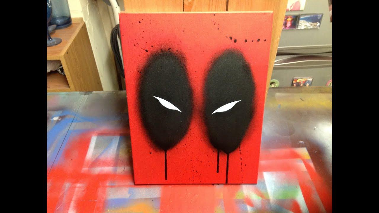 Deadpool stencil and spray paint on canvas! - YouTube