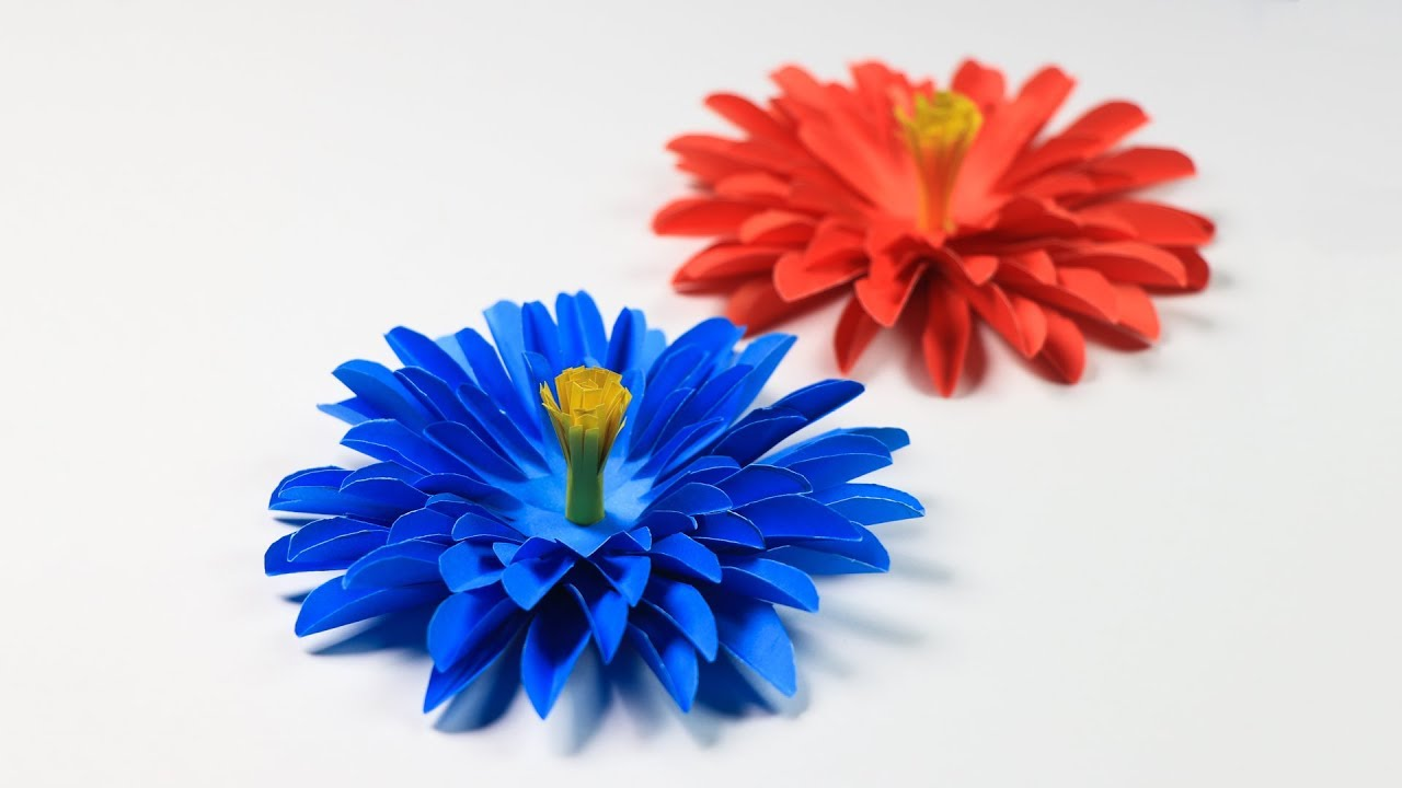 How To Make Aster Flower With Paper Paper Flower Making Youtube