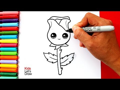 Aprende a dibujar y pintar una ROSA Kawaii (Muy Fácil) | How to Draw a Cute Rose