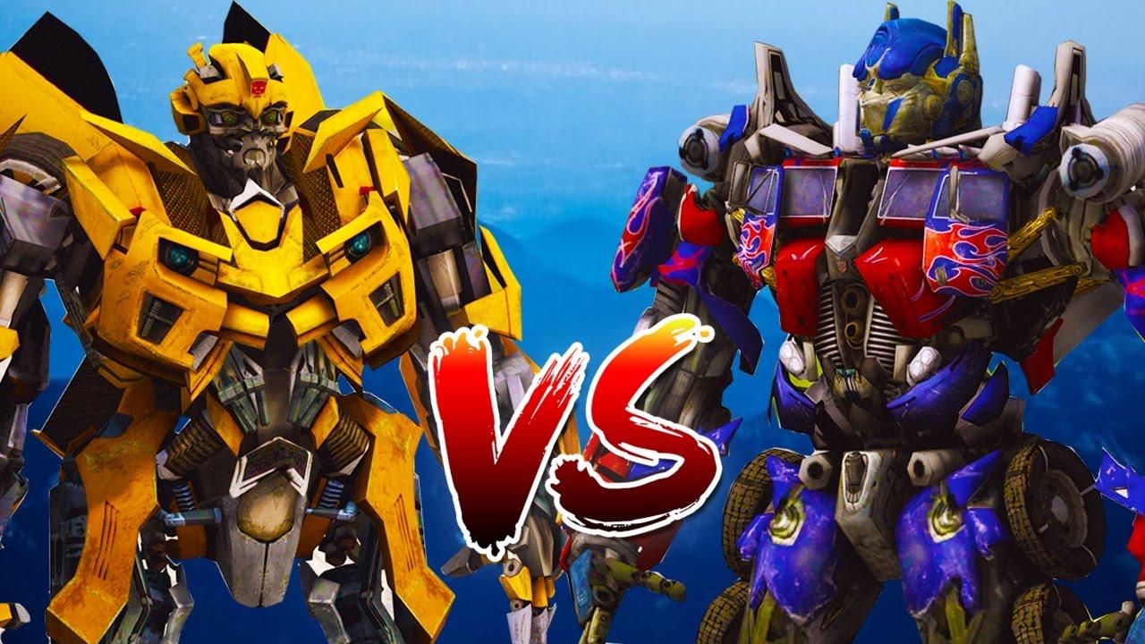 Optimus Prime Vs Bumblebee Transformers Fight