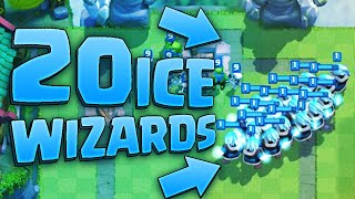 20 ICE WIZARDS! New World Record Attempt! (Clash Royale Mass Gameplay)