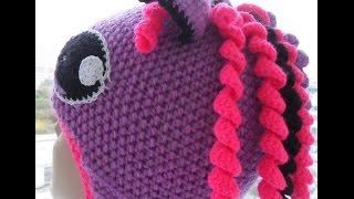 Детская шапка- пони завершение.(knitting baby hats crochet)(Мастер-класс по завершению вязания крючком детской шапки-пони, будем учиться вязать гриву для пони, красивы..., 2016-09-21T03:43:45.000Z)