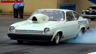 Wild AMERICAN muscle cars Drag racing ACTION  - smokey burnouts at ROUTE 66 RACEWAY