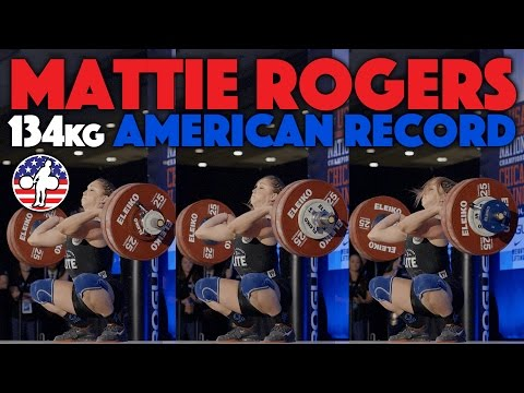 Mattie Rogers (69) - 134kg Clean and Jerk American Record [Slow Motion]
