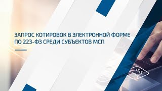запрос котировок по 223-ФЗ для субъектов МСП