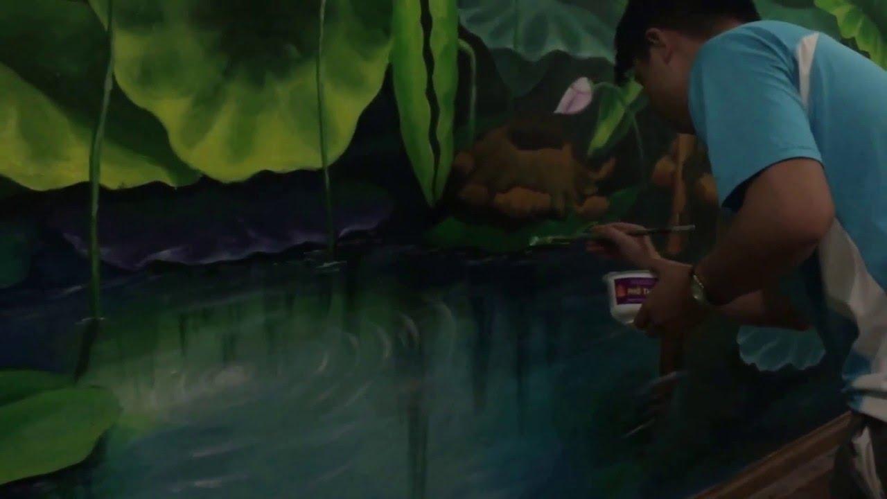 Vẽ tranh tường hoa sen 3d phòng khách phòng thờ tại Hà Nội 0908766656
