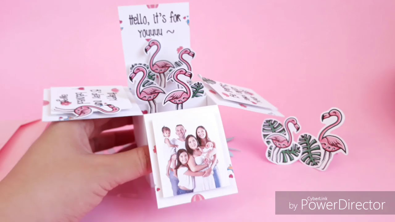 Flamingo Card Box Hadiah Pacar Kado Ulang Tahun Explosion Box Kartu