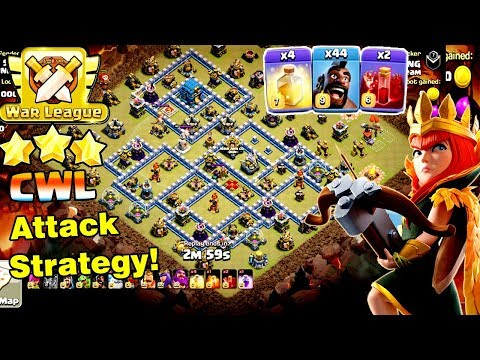 NON TEAM CWL!! 44 HOGS + 2 SKELETON + 4 HEAL SPELL STRATEGY SMASH TH12 3-STAR ( Clash Of Clans )