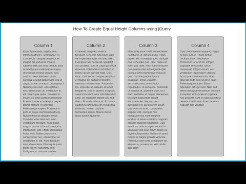 How To Make Equal Height Columns Using JQuery