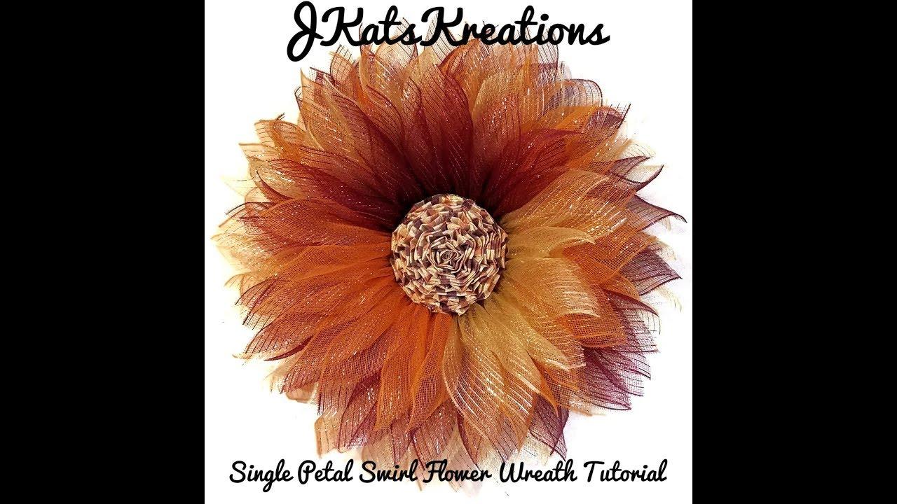 Deco Mesh Single Petal Swirl Flower Wreath Tutorial By