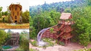 3 Top Video, How To Build Wood Brick Villa, Mud House,Swimming Pool, Water Slide Around House