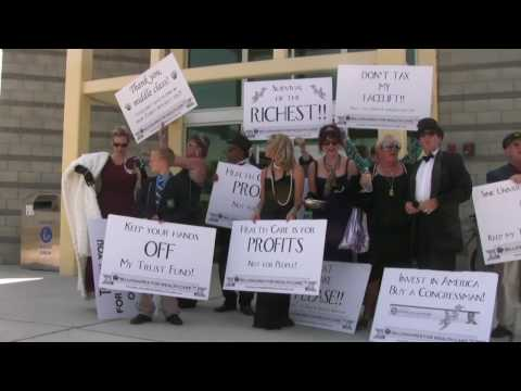 Billionaires for Wealth Care at Susan Davis town hall in Spring Valley, California
