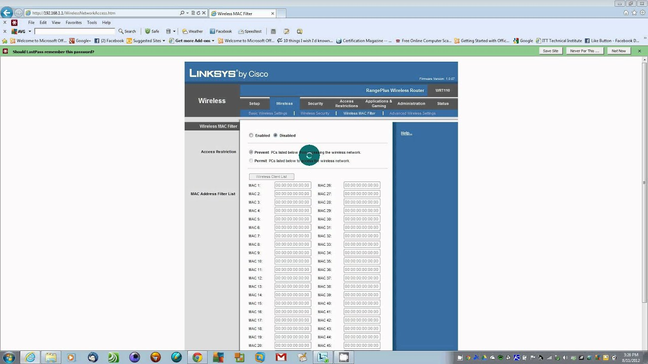 how to put password on linksys router