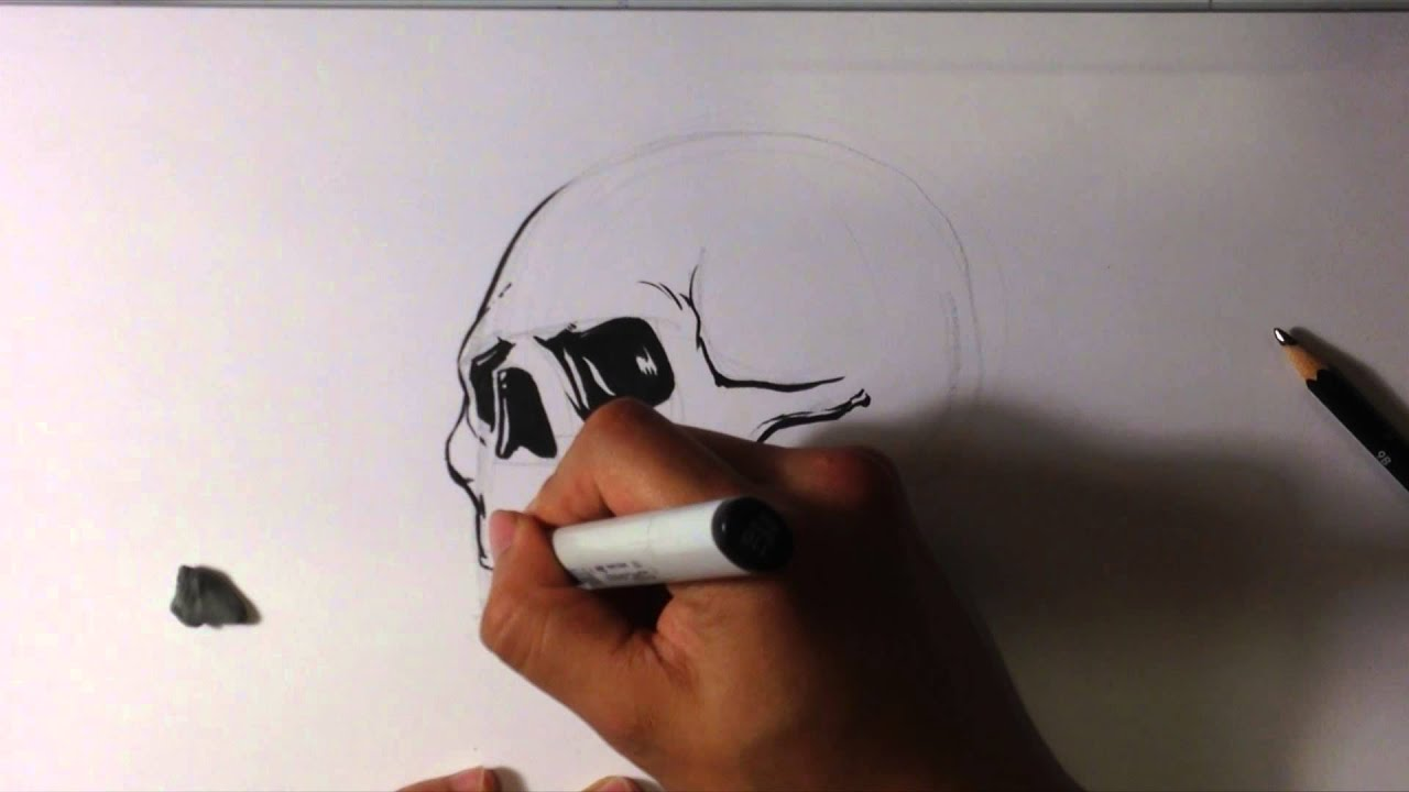 How To Draw A Skull In Ink  Easy Things To Draw