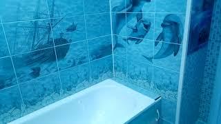 Ванная комната после ремонта в стиле лазурь.